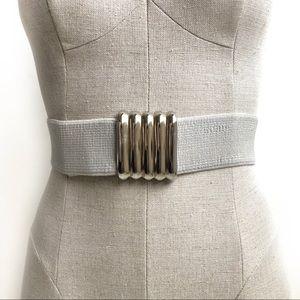 Vintage 80s Elastic Waist Belt Light Gray Size XS